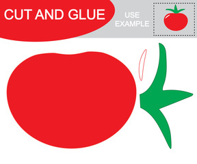 Educational game for children. Create the image of tomato (vegetables) using scissors and glue.