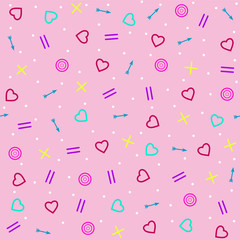 The  pastel seamless pattern  with hearts  and arrows. Background for Valentine's Day or weddings