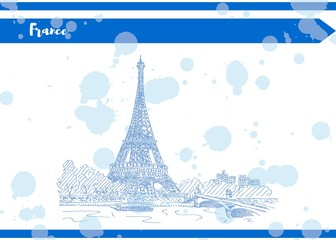 Sketch of France Paris Tower ink drawing