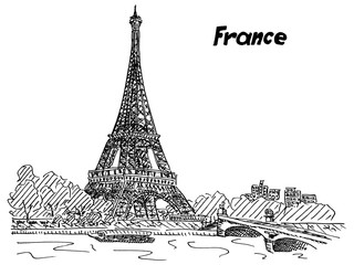 Sketch of France Paris Eiffel Tower near the river