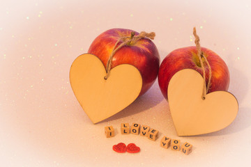 Happy Valentines day / two apples and hearts with the inscription I love you and a place left on my own dedications.