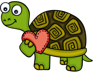 Cute turtle with red heart