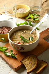 soup with cereals and legumes in the bowl