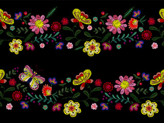 Embroidery line seamless pattern with flowers and butterfly. Vector embroidered floral bandes for clothing design.