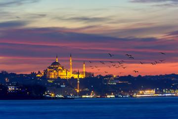 Spectacular Süleymaniye mosque and moon set istanbul Turkey
