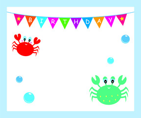 cute crab baby shower and happy birthday greeting card vector