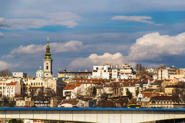 Belgrade, Serbia February 28, 2014: View of the panorama of Belgrade and the cathedral church