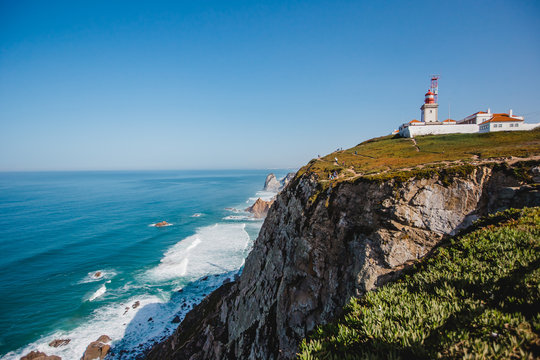 famous lighthouse ocean portugal cabo da roca