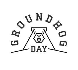 Groundhog day greeting card line art vector illustration