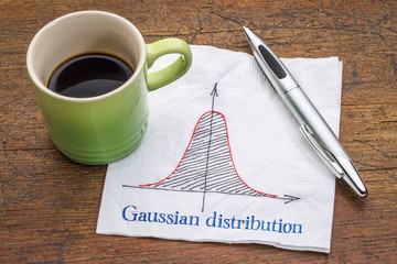Gaussian (bell) distribution curve on napkin
