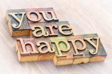 You are happy word abstract in wood type