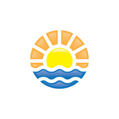 Travel logo concept of sunset at sea