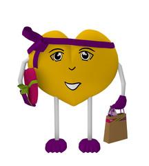 niedliches Valentinsherz mit Gesicht und schleife trägt eine Einkaufstasche und ein Valentinsgeschenk. 3d render