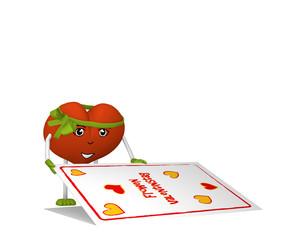 rotes Valentinsherz mit Gesicht und grüner schleife öffnet eine Valentinskarte. 3d render