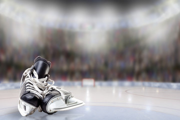 Ice Hockey Skates in Arena Rink With Copy Space