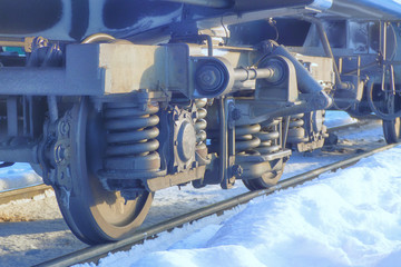 a railway carriage in winter closeup