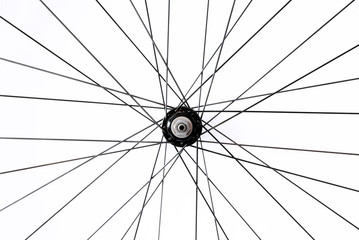Black and alloy bicycle spokes isolated on white background
