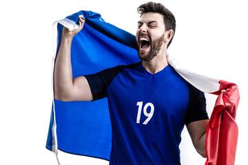 French male athlete / fan celebrating on white background