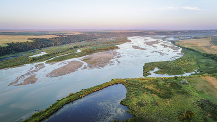 Niobrara River in Nebraska - aerial view