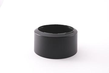 Lens hood for camera lens isolated on white background