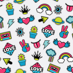 pattern with pop art vector stickers