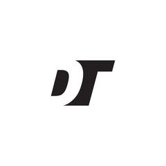 Initial letter DT, negative space logo, simple black color