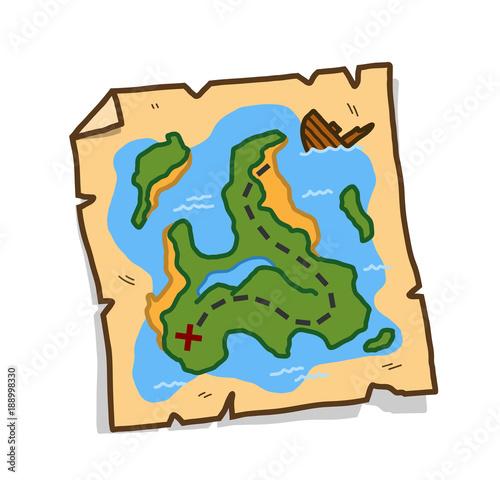 Treasure Map, a hand drawn vector cartoon illustration of a treasure on