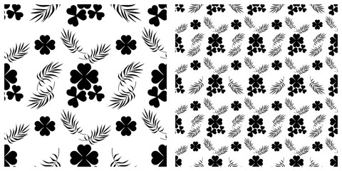 Seamless pattern in single layer of clover leaves.