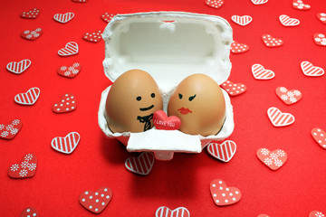 "egg sweet couple find each other and face to face share the heart "" i love u""  in honeymoon  what a perfect match"