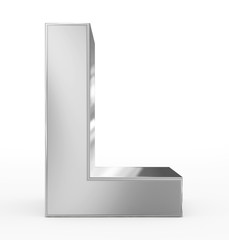 letter L 3d silver isolated on white