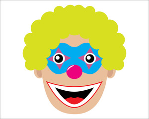 Head of clown, icon. Vector illustration.