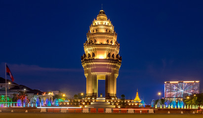 The Cambodia Independence Monument illuminated at night in downtown Phnom Penh