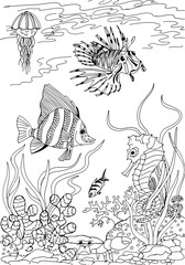 Underwater world. Animals of the tropical seas. Freehand sketch drawing for adult antistress coloring book