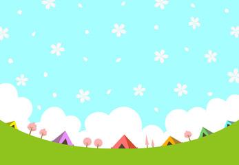 キャンプ場 風景 桜