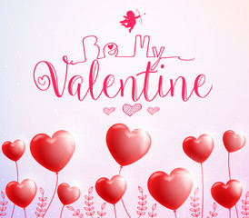 Be My Valentine Poster with Red Heart Balloons for Valentines Day. Vector Illustration.