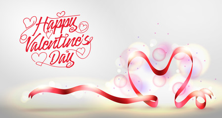 Happy Valentines Day Greeting Banner with Red Heart Shaped Ribbon. Vector Illustration.