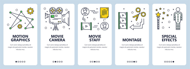 Vector modern thin line video production concept web banners