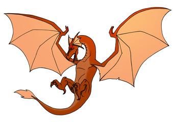illustrazione di un drago alato in volo a colori