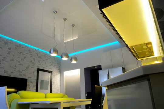 led lighting in the living room interior