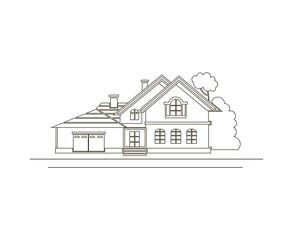 monochrome sketch design of private house
