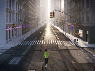young woman jogging alone in the streets of city. 3d rendering