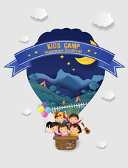 Illustration of  kids summer camp education with balloon. The cheerfully of the children going to camping for doing activities enjoy on daytime. vector paper art and craft style