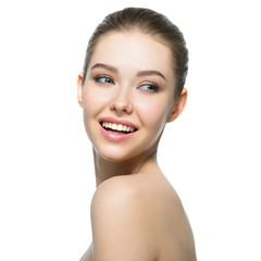 Young smiling woman with beautiful face.