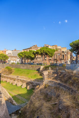 Catania, Sicily, Italy. The moat surrounding the Castello Ursino and the old buildings