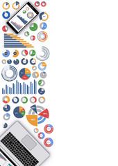 ノートパソコン,スマートフォンとビジネス資料