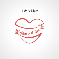 """""""Made with Love"""" typographical design elements and Red heart shape with hand embrace.Hugs and Love yourself sign.Health and Heart Care icon.Happy valentines day concept.Healthcare & medical concept."""