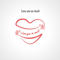 """""""Love You So Much"""" typographical design elements and Red heart shape with hand embrace.Hugs and Love yourself sign.Health and Heart Care icon.Happy valentines day concept."""