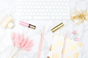 Blush and gold feminine desktop. Flat lay
