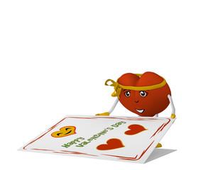 Valentinsherz mit Gesicht und schleife öffnet eine Valentinskarte. 3d render