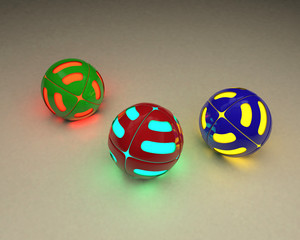 3D illustration of multicolored glowing balloons on a light background.